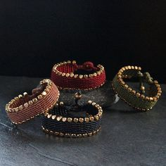Brass Lined Macrame Bracelet