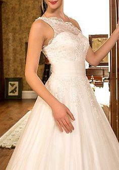 A-line Princess One Shoulder Sweep/Brush Train Tulle And Lace Wedding Dress