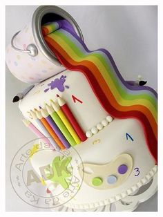 Art birthday party cake. Love the use of paint & colored pencils!