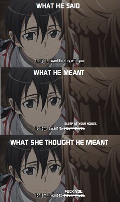 sword art online funny | User Posted Image]. LOL (come on Kirito! tell the truth)