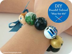 "DIY Bracelet Tutorial: ""May the 4th""(be with you). Visit www.fizzypops.com for supplies and tutorial."