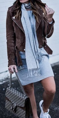 cool outfit idea : brown moto jacket grey scarf bag dress sneakers