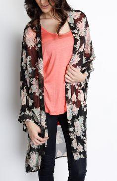 Floral Black Cardigan #wholesalecardigan #kimono #womensfashion #sheer #clothes #chic #fashionistas #floral #black