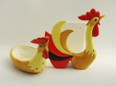 Holt Howard Coq Rouge Red Rooster Napkin Holder and Spoon Rest 1960's