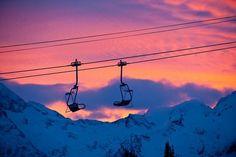 skiing at sunset
