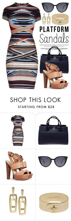 """""""Stand Up! Platform Sandals 2068"""" by boxthoughts ❤ liked on Polyvore featuring Hervé Léger, Chanel, Steve Madden, Fendi, Kenneth Cole, Mulberry and platforms"""