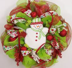 Christmas Wreath snowman mesh red lime green poly deco front door hanging holiday decoration. $160.00, via Etsy.