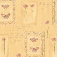 8 in. x 10 in. Orange Earth Tone Butterfly and Script Wallpaper Sample, Yellows/Golds