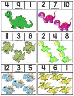 Coloring clip cards featuring Dinosaurs to help teach numbers Super easy prep, 6 cards total! Dinosaur Classroom, Dinosaur Theme Preschool, Body Preschool, Dinosaur Activities, Dinosaur Crafts, Free Preschool, Letter T Activities, Vocabulary Activities, Teaching Numbers
