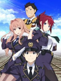 """Rail Wars!  #NewAnime #Summer2014 Takayama Naoto, 2nd-year student at Kiryu Tetsudou has been selected to intern at the infamous """"Public Rail Road Security Corps."""" He only wanted to be assigned to a safe for the rest of his life. This group is the first line of defense against the extreme-leftist group fighting to privatize the railroads. Considering his lack of training or motivation, will he be able to survive the rail wars?"""