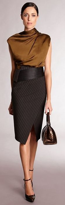 Donna Karan. Love this for Dark Autumn. The purse could be bigger and less stiff, because the YangNatural woman is. Is the skirt too confining or short? Overall, proportions of clothing seem right?