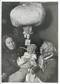 U.S. Group of Slavic mothers who have just arrived, Ellis Island, New York, 1905. // photo by Lewis W. Hine