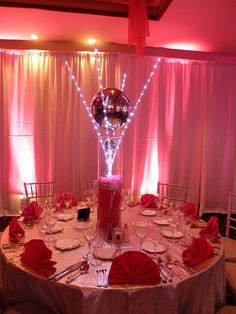 Pink light up centerpieces, white draping with pink LED lights for a Bat Mitzvah | Flickr - Photo Sharing!