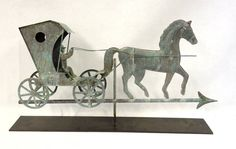 Full body copper Amish horse, rider and buggy weathervane - good patina - 20th century.