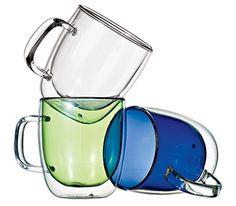 Double walled glass mugs.  Cute!
