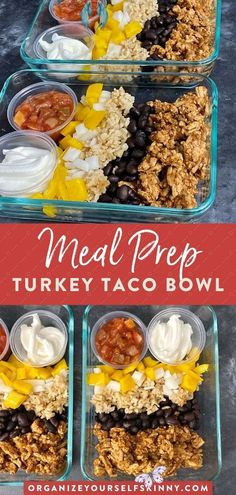 Turkey Taco Bowl {Easy Meal Prep Idea} | healthy easy ground turkey recipe Ground Turkey Bowl Meal Prep (Healthy & Easy Ground Turkey Recipes) | Easy Meal Prep Recipes - Are you looking for an easy ground turkey recipe for dinner? This turkey meal prep recipe is easy, healthy & perfect for weight loss & clean eating. Click through for the full recipe!  Meal prep clean eating | meal prep for the week | meal prep recipes | easy healthy lunch recipes Organize Yourself Skinny #turkeybowl… Ground Turkey Meal Prep, Healthy Ground Turkey, Ground Turkey Tacos, Ground Turkey Recipes, Easy Healthy Meal Prep, Easy Meals, Dinner Healthy, Healthy Meals, Healthy Turkey Recipes