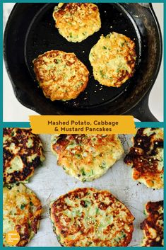 With a sweet, heartening flavour, these vegetable pancakes are great comfort food and quick to mix up using leftover mashed potatoes and zesty mustard. Serve alongside grilled sausages or chops for a hearty supper. Pancake Recipe For Kids, Cabbage Recipes, Potato Recipes, Brunch Recipes, Appetizer Recipes, Breakfast Recipes, Salad Recipes, Burger Recipes