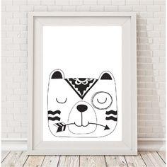 Monochrome sleepy bear tribal print | hardtofind.