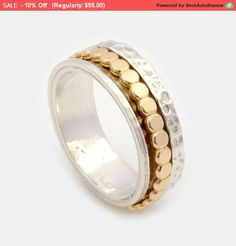 Unisex Spinner Ring Silver Spinner Ring Gold by ByNatureJewellery