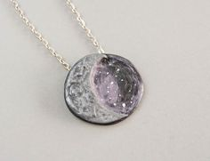 polymer clay  crescent moon nacklace