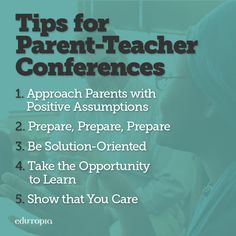 Make parent-teacher conferences easier for everyone by preparing to show student grades and work, setting parents at ease, listening to them, and remaining positive. First Year Teachers, Parents As Teachers, New Teachers, Parents Meeting, Parent Teacher Communication, Teacher Education, Teacher Resources, School Staff, School Counselor