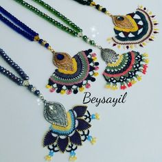 This Pin was discovered by iğn Cutwork, Bag Accessories, Macrame, Nice Dresses, Crochet Necklace, Textiles, Beads, Pretty, Necklaces