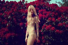 flowers blonde lace femme fatale