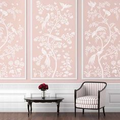 Birds and Roses Chinoiserie Wall Mural Stencil - Better than Wallpaper - Stencil for DIY Home Decor - Thumbnail 3 Wallpaper Stencil, Framed Wallpaper, Chinoiserie Wallpaper, Chinoiserie Chic, Wallpaper Panels, Stencil Diy, Wallpaper For Home, Dinning Room Wallpaper, Tile Stencils