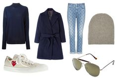 How to wear polka-dot jeans in winter