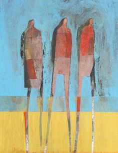 Scott Bergey's paintings are textured, raw, highly stylised, innocent and clearly influenced by the work of Paul Klee and Jean Dubuffet