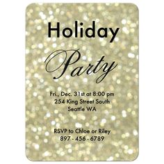 """Time to Drink Champagne and Dance on the Table"", accents the front of this Holiday Party Invitation on a glittery gold background, making it a fun, festive and elegant way to celebrate for the season. Interesting typography on the back of the invitation Holiday Party Invitations, New Years Eve Party, Winter Holidays, Invitation Design, Holiday Parties, Rsvp, Champagne, Designers, Typography"