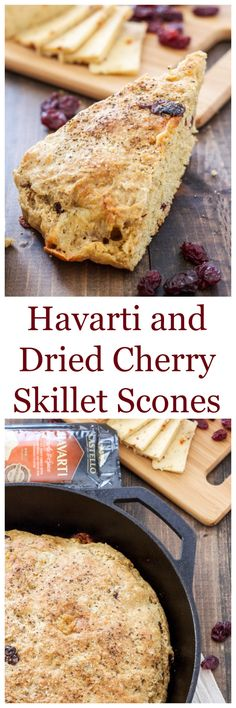 Havarti and Dried Cherry Skillet Scones | A savory and sweet scone perfect served with brunch or even dinner! #castellohavarti @castellousa | @reciperunner