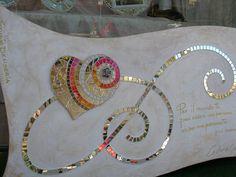 Declaration of Love mosaic mixed media panel furniture Ceramic Mosaic Tile, Mosaic Wall Art, Mirror Mosaic, Mosaic Diy, Mosaic Garden, Mosaic Crafts, Mosaic Projects, Mosaic Glass, Tile Mosaics