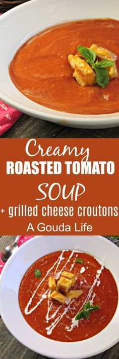 Creamy Roasted Tomato Soup + Grilled Cheese Croutons. Easy, classic creamy flavor topped with a modern twist on the grilled cheese.