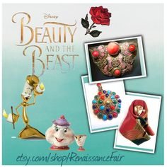 Beauty and the Beast by renaissance-fair on Polyvore featuring Disney #rose #leatherbrooch #multicolorpendant #czechbrooch #redjewelry #BATB #BeautyandTheBeast #ARosefor Belle
