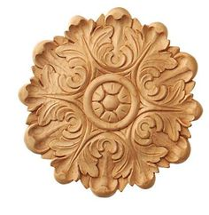X - Hand carved circular small embossed applique/rosette - Corbel Place Wood Carving Patterns, Carving Designs, Wood Appliques, Hand Carved, Carved Wood, Wood Ornaments, Raw Wood, Machine Design, Wood Art