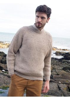 FISHERMANS RIB CREW NECK SWEATER Made with 100% Pure Wool Colours Available: Oatmeal, Moss, Charcoal & Navy www.arancrafts.com