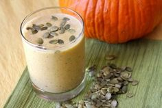 Pumpkin Seed Protein Smoothie recipe with pumpkin, banana, peanut butter, almonds and flax meal for a healthy and filling drink. Protein Smoothie Recipes, Healthy Protein, Pumpkin Seed Recipes, Good Smoothies, Peanut Butter Banana, Healthy Drinks, Healthy Eats, Healthy Foods, Vegan Snacks