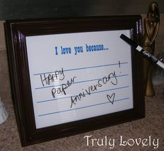 """I Love You Because Frame  I did this with my own style frame. I wish I had typed out the """"I love you"""" part. I just hand wrote it and it looks pretty shotty. Still cute idea though and I put it on the wall anyways. Ha ha!"""