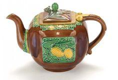 Very rare Minton Majolica Christopher Dresser design Bat Finial Tea Pot