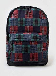 Red and Green Check Backpack - $55
