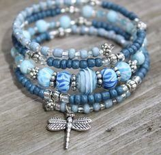 """DIY your photo charms, compatible with Pandora bracelets. Make your gifts special. Make your life special! Blue """"Denim"""" Memory Wire Bracelet with Dragonfly Charm, Dragonfly Bracelet, Charm Bracelet Memory Wire Jewelry, Memory Wire Bracelets, Pandora Bracelets, Pandora Jewelry, Handmade Bracelets, Pandora Rings, Charm Bracelets, Earrings Handmade, Beaded Jewelry"""