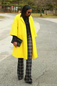 Neon yellow, black, tartan
