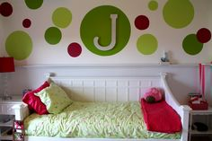 Interior White Wooden Bed With Green Bed Sheet Plus White Wooden Side Table Combined With Green Red Circles Paint On The White Wall Terrific Toddler Girl Bedroom Ideas Pictures Offer Stunning Referen