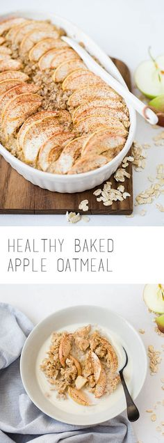 Healthy baked apple oatmeal is a perfect breakfast for chilly autumn mornings