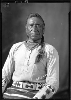 1920 photograph of Chippewa/Cree Chief Kenewash, on the Rocky Boy Reservation in Montana.  Taken by Fritz Studio