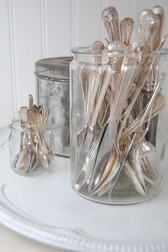 ~ pretty way to use & store mismatched silver Repinned by www.silver-and-grey.com