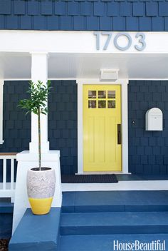 "Designer Tamara Kaye-Honey added a jolt of energy to this otherwise modest craftsman. ""Yellows can often be too juvenile, too in-your-face, too much, but the little bit of lime in this one makes it more sophisticated,"" she says. ""It's playful and happy, but not too Disney. Do it in high gloss for depth."""