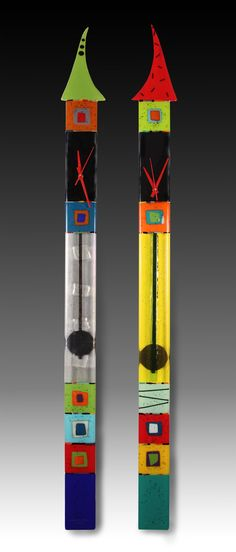Top Hat Pendulum Clocks by Nina Cambron: Art Glass Clock available at www.artfulhome.com