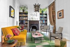 Colorful living room in a Madrid apartment